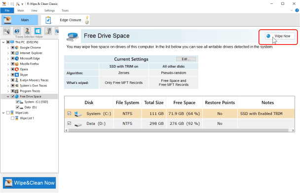 Cleaning free space for SSD and HDD storage devices