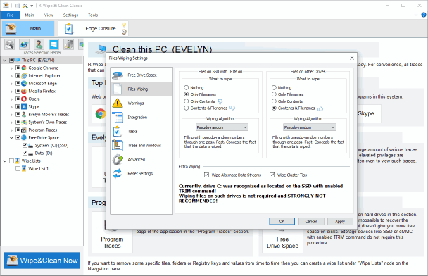 File Wipe Settings for SSD and HDD